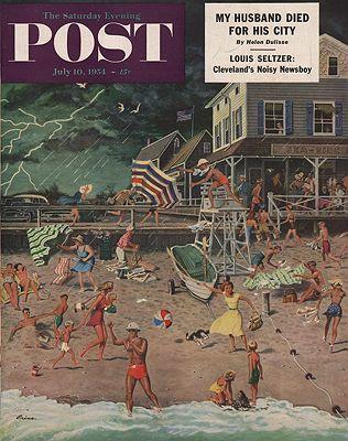 ORIG. VINTAGE MAGAZINE COVER - SATURDAY EVENING POST - JULY 10 1954illustrator- Ben  Prins - Product Image