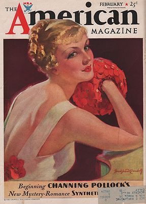 ORIG VINTAGE MAGAZINE COVER/ AMERICAN MAGAZINE - FEBRUARY 1934Crandell(Illust.), Bradshaw, Illust. by: Bradshaw  Crandell - Product Image