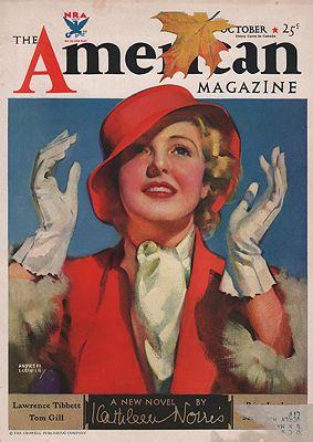 ORIG VINTAGE MAGAZINE COVER/ AMERICAN MAGAZINE - OCTOBER 1933Loomis (Illust.), Andrew, Illust. by: Andrew  Loomis - Product Image