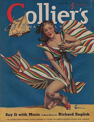 ORIG VINTAGE MAGAZINE COVER/ COLLIERS - JULY 20 1940illustrator- E.M.  Jackson - Product Image