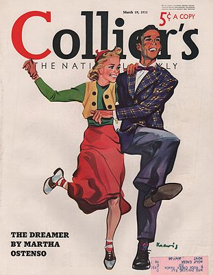 ORIG VINTAGE MAGAZINE COVER/ COLLIERS - MARCH 19 1938Kravis (Illust.), Ludlow, Illust. by: Ludlow  Kravis - Product Image