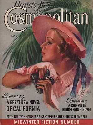ORIG VINTAGE MAGAZINE COVER/ COSMOPOLITAN MARCH 1936illustrator- Bradshaw  Crandall - Product Image