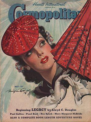 ORIG VINTAGE MAGAZINE COVER/ COSMOPOLITAN MAY 1940illustrator- Bradshaw  Crandall - Product Image