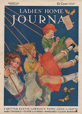 ORIG VINTAGE MAGAZINE COVER/ LADIES HOME JOURNAL - AUGUST 1930illustrator- Robert E.  Lee - Product Image