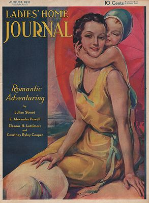 ORIG VINTAGE MAGAZINE COVER/ LADIES HOME JOURNAL - AUGUST 1931illustrator- Jules  Erbit - Product Image
