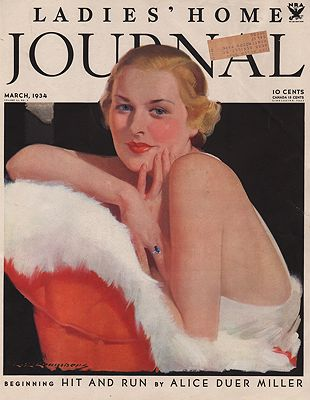 ORIG VINTAGE MAGAZINE COVER/ LADIES HOME JOURNAL - MARCH 1934illustrator- C.E.  Chambers - Product Image