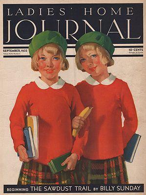 ORIG VINTAGE MAGAZINE COVER/ LADIES HOME JOURNAL - SEPTEMBER 1932illustrator- Eugene  Iverd - Product Image