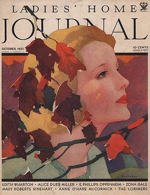 ORIG VINTAGE MAGAZINE COVER/ LADIES HOME JOURNAL - OCTOBER 1933Brubaker (Illust.) - Product Image