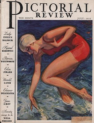 ORIG VINTAGE MAGAZINE COVER/ PICTORIAL REVIEW - JULY 1932Barclay (Illust.), McClelland, Illust. by: McClelland  Barclay - Product Image