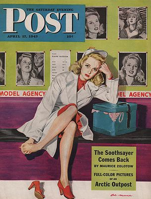 ORIG VINTAGE MAGAZINE COVER/ SATURDAY EVENING POST - APRIL 17 1943illustrator- Al  Moore - Product Image