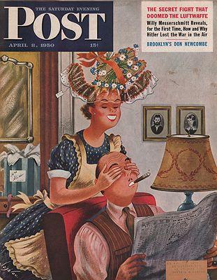 ORIG VINTAGE MAGAZINE COVER/ SATURDAY EVENING POST - APRIL 8 1950illustrator- Constantin  Alajalov - Product Image