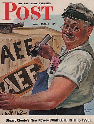 ORIG VINTAGE MAGAZINE COVER/ SATURDAY EVENING POST - AUGUST 15 1942illustrator- Howard  Scott - Product Image