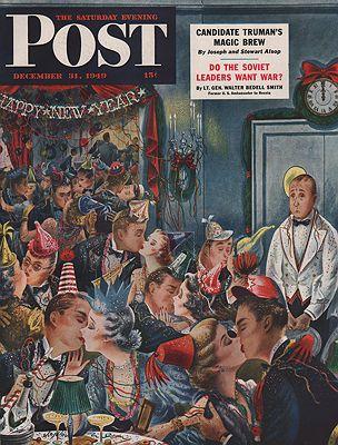 ORIG VINTAGE MAGAZINE COVER/ SATURDAY EVENING POST - DECEMBER 31 1949illustrator- Constantin  Alajalov - Product Image