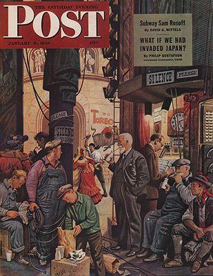 ORIG VINTAGE MAGAZINE COVER/ SATURDAY EVENING POST - JANUARY 3 1946illustrator- John  Falter - Product Image