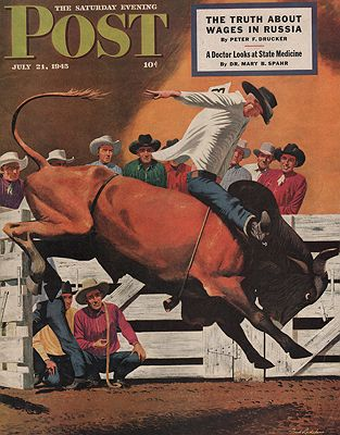 ORIG VINTAGE MAGAZINE COVER/ SATURDAY EVENING POST - JULY 21 1945illustrator- Fred  Ludekens - Product Image