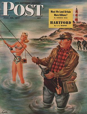 ORIG VINTAGE MAGAZINE COVER/ SATURDAY EVENING POST - JULY 26 1947illustrator- Constantin  Alajalov - Product Image