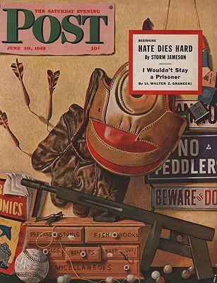ORIG VINTAGE MAGAZINE COVER/ SATURDAY EVENING POST - JUNE 30 1945illustrator- John  Atherton - Product Image