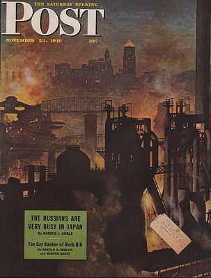 ORIG VINTAGE MAGAZINE COVER/ SATURDAY EVENING POST - NOVEMBER 23 1946illustrator- John   Atherton - Product Image