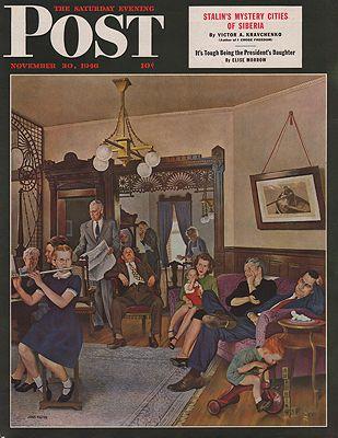 ORIG VINTAGE MAGAZINE COVER/ SATURDAY EVENING POST - NOVEMBER 30 1946illustrator- John  Falter - Product Image