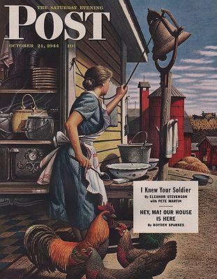 ORIG VINTAGE MAGAZINE COVER/ SATURDAY EVENING POST - OCTOBER 21 1944illustrator- Stevan  Dohanos - Product Image