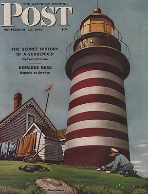 ORIG VINTAGE MAGAZINE COVER/ SATURDAY EVENING POST - SEPTEMBER 22 1945illustrator- Stevan  Dohanos - Product Image