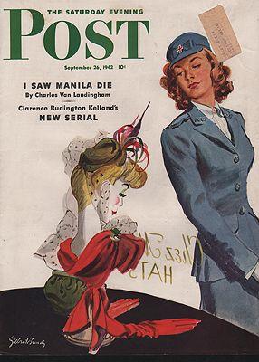 ORIG VINTAGE MAGAZINE COVER/ SATURDAY EVENING POST - SEPTEMBER 26 1942illustrator- Gilbert  Bundy - Product Image