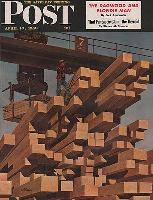 ORIG VINTAGE MAGAZINE COVER/ SATURDAY EVENING POST - APRIL 10 1948Atherton (Illust.), John, Illust. by: John  Atherton - Product Image