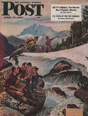 ORIG VINTAGE MAGAZINE COVER/ SATURDAY EVENING POST - APRIL 15 1950Clymer (Illust.), John, Illust. by: John  Clymer - Product Image