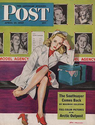ORIG VINTAGE MAGAZINE COVER/ SATURDAY EVENING POST - APRIL 17 1943Moore (Illust.), Al, Illust. by: Al  Moore - Product Image