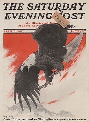 ORIG VINTAGE MAGAZINE COVER/ SATURDAY EVENING POST - APRIL 21 1917Bull (Illust.), Charles Livingston, Illust. by: Charles Livingston  Bull - Product Image