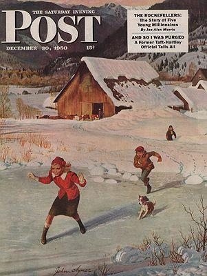 ORIG VINTAGE MAGAZINE COVER/ SATURDAY EVENING POST - DECEMBER 30 1950Clymer (Illust.), John, Illust. by: John  Clymer - Product Image