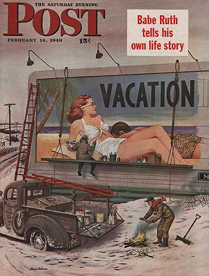 ORIG VINTAGE MAGAZINE COVER/ SATURDAY EVENING POST - FEBRUARY 14 1948Dohanos (Illust.), Stevan, Illust. by: Stevan  Dohanos - Product Image