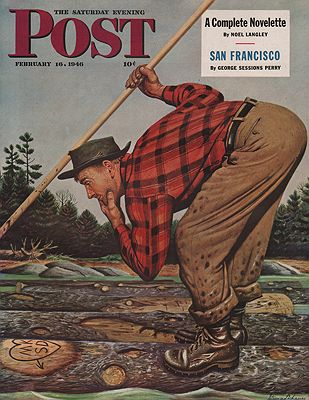 ORIG VINTAGE MAGAZINE COVER/ SATURDAY EVENING POST - FEBRUARY 16 1946Dohanos (Illust.), Stefan, Illust. by: Stevan  Dohanos - Product Image