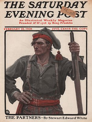 ORIG VINTAGE MAGAZINE COVER/ SATURDAY EVENING POST - FEBRUARY 22 1908Wyeth (Illust.), N, C., Illust. by: N.C.  Wyeth - Product Image