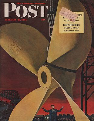 ORIG VINTAGE MAGAZINE COVER - SATURDAY EVENING POST - FEBRUARY 26 1944Ludekens (Illust.), Fred, Illust. by: Fred  Ludekens - Product Image