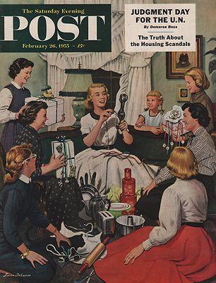 ORIG VINTAGE MAGAZINE COVER/ SATURDAY EVENING POST - FEBRUARY 26 1955Dohanos (Illust.), Stevan, Illust. by: Stevan  Dohanos - Product Image