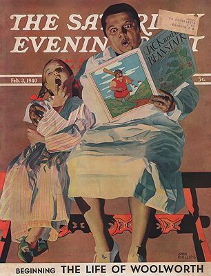 ORIG VINTAGE MAGAZINE COVER/ SATURDAY EVENING POST - FEBRUARY 3 1940Phillips (Illust.), John, Illust. by: John  Philips - Product Image