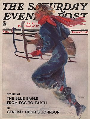 ORIG VINTAGE MAGAZINE COVER/ SATURDAY EVENING POST - JANUARY 19 1935LaGatta (Illust.), John, Illust. by: John  LaGatta - Product Image