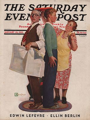 ORIG VINTAGE MAGAZINE COVER/ SATURDAY EVENING POST - JANUARY 28 1933Crockwell (Illust.), Douglas, Illust. by: Douglas  Crockwell - Product Image