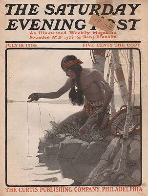 ORIG VINTAGE MAGAZINE COVER/ SATURDAY EVENING POST - JULY 18 1908Wyeth (Illust.), N.C., Illust. by: N.C.  Wyeth - Product Image