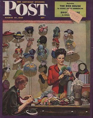 ORIG VINTAGE MAGAZINE COVER/ SATURDAY EVENING POST - MARCH 10 1945Falter (Illust.), John, Illust. by: John  Falter - Product Image