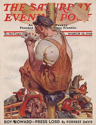ORIG VINTAGE MAGAZINE COVER/ SATURDAY EVENING POST - MARCH 12 1938Abbott (Illust.), S.N., Illust. by: S.N.  Abbott - Product Image