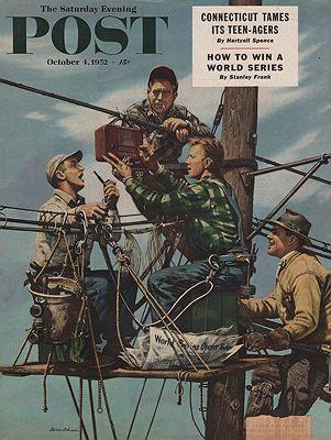 ORIG VINTAGE MAGAZINE COVER/ SATURDAY EVENING POST - OCTOBER 4 1952Dohanos (Illust.), Stevan, Illust. by: Stevan  Dohanos - Product Image