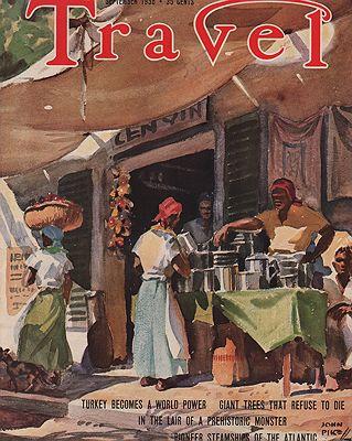 ORIG VINTAGE MAGAZINE COVER/ TRAVEL - SEPTEMBER 1938illustrator- John  Pike - Product Image