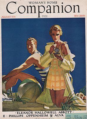 ORIG VINTAGE MAGAZINE COVER/ WOMANS HOME COMPANION - AUGUST 1934illustrator- Edwin  Georgi - Product Image