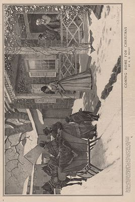 ORIG VINTAGE MAGAZINE ILLUSTRATION - COMING HOME FOR CHRISTMAS - LADIES HOME JOURNAL - DECEMBER 1899illustrator- A.B.  Frost - Product Image