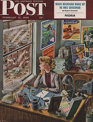 ORIG. VINTAGE MAGAZINE COVER - SATURDAY EVENING POST - FEBRUARY 12 1949Alajalov (Illust.), Constantin, Illust. by: Constantin  Alajalov - Product Image