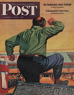 ORIG. VINTAGE MAGAZINE COVER/ SATURDAY EVENING POST - JANUARY 6 1945Ekman (Illust.), Stanley, Illust. by: Stanley  Ekman - Product Image