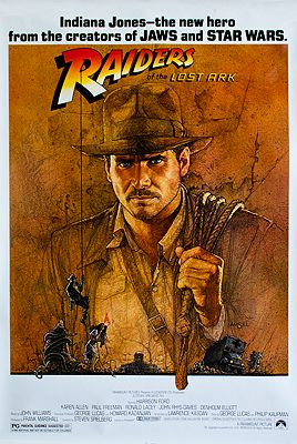 """<p class=""""ttl"""">Raiders of the Lost Ark (MOVIE POSTER)<p><br />N/A, Illust. by: Richard  Amsel</span>"""