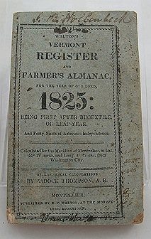 Walton's Vermont Register and Farmer's Almanac, For the Year of Our Lord, 1825: Being first after Bissextile, Or Leap-Year, And Forty-Ninth of American Independence - No. VIIIWalton, E. P. /Zadock Thompson, A. B. - Product Image